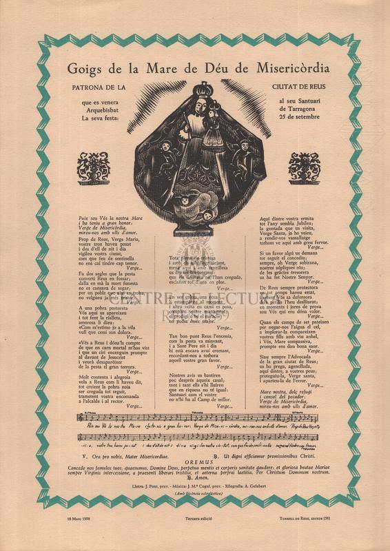 Goigs de la Mare de Déu de Misericòrdia patrona de la ciutat de Reus que es venera al seu Santuari Arquebisbat de Tarragona. La seva festa: 25 de setembre