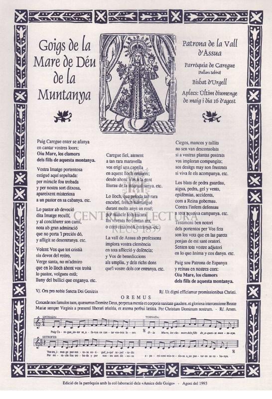 Goigs de la Mare de Déu de la Muntanya, Patrona de la Vall d'Àssua, parròquia de Caregue (Pallars Sobirà) Bisbat d'Urgell.