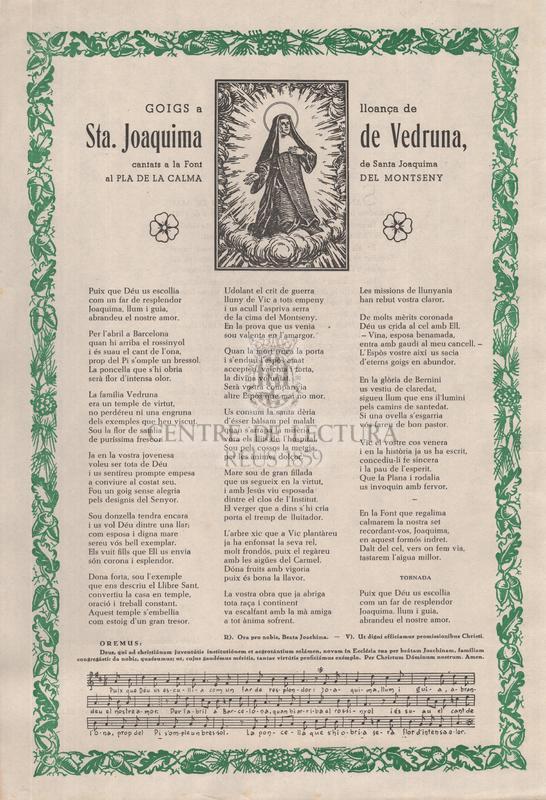 Goigs a lloança de Sta. Joaquima de Vedruna, cantats a la Font de Santa Joaquima, al Pla de la Calma del Montseny