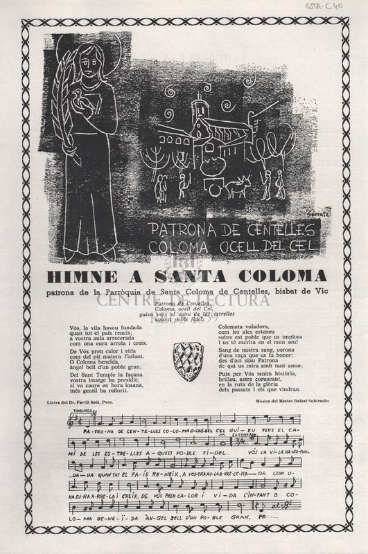 Himne a Santa Coloma patrona de la Parròquia de Santa Coloma de Centelles, bisbat de Vic.