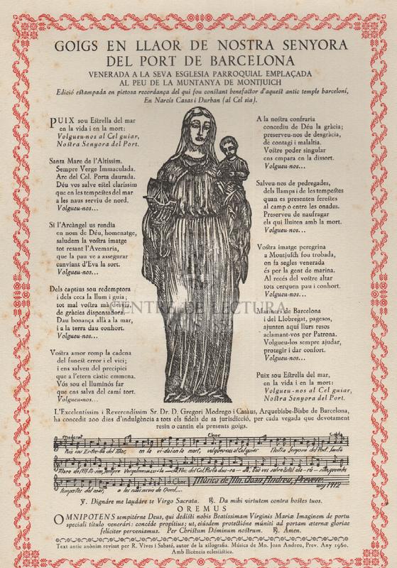 Goigs en llaor de Nostra Senyora del Port de Barcelona venerada a la seva esglesia parroquial emplaçada al peu de la muntanya de Montjuich