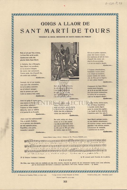 Goigs a llaor de Sant Martí de Tours venerat al Reial Monestir de Santa Maria de Poblet.