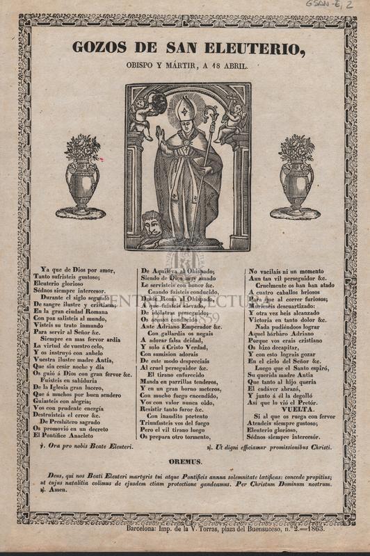 Gozos de San Eleuterio, obispo y mártir, a 18 Abril.