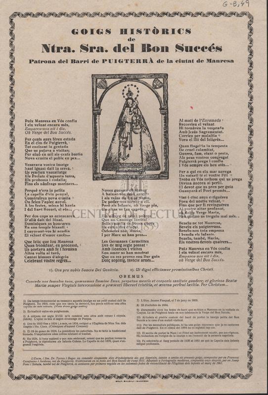 Goigs històrics de Ntra. Sra. del Bon Succés Patrona del Barri de Puigterrà de la ciutat de Manresa.
