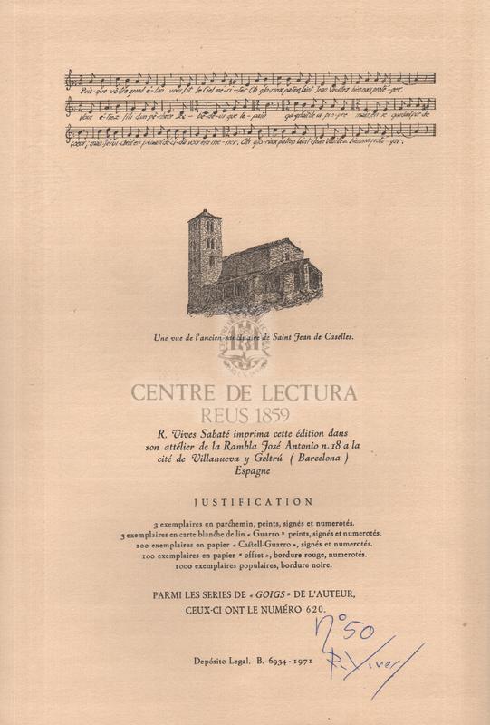 Cantique en louange du glorieux saint Jean de Caselles, vénéré dans son ancien sanctuaire de la paroisse de Canillo aux vallées d'Andorre, Evêché d'Urgell