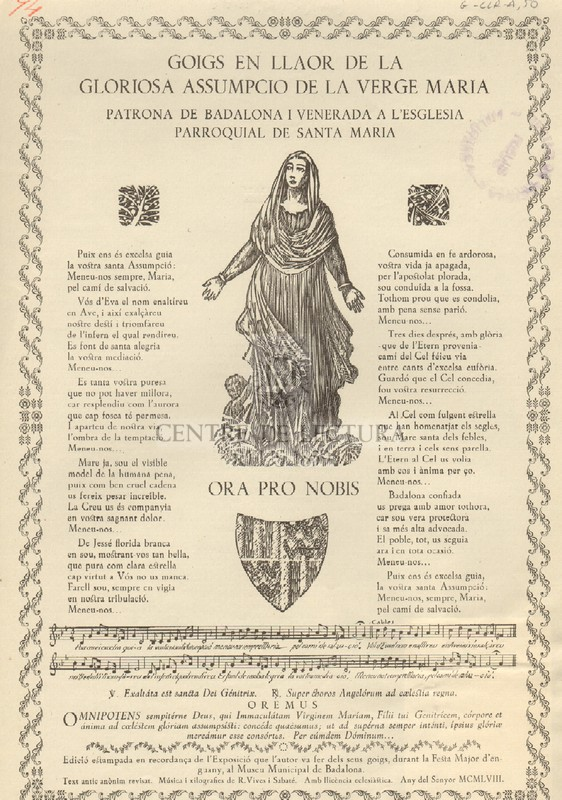 Goigs en llaor de la gloriosa assumpció de la Verge Maria patrona de Badalona i venerada a l'esglesia parroquial de Santa Maria