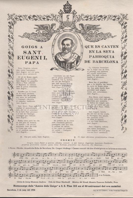 Goigs a Sant Eugeni I, papa que es canten en la seva Parroquia de Barcelona