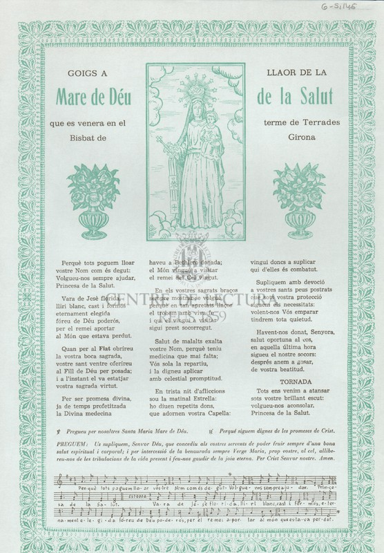 Goigs a llaor de la Mare de Déu de la Salut que es venera en el terme de Terrades Bisbat de Girona