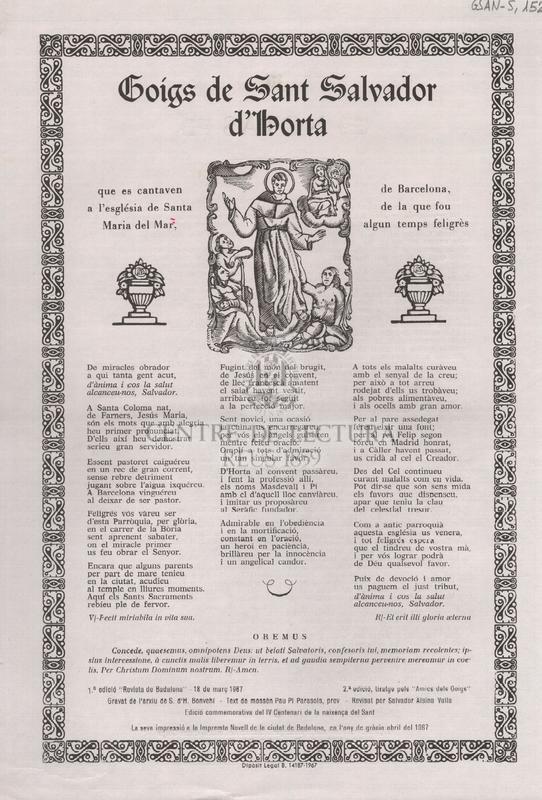 Goigs de Sant Salvador d'Horta, que es cantavem a l'església de Santa Maria del Mar, de Barcelona, de la que fou algun temps feligrès