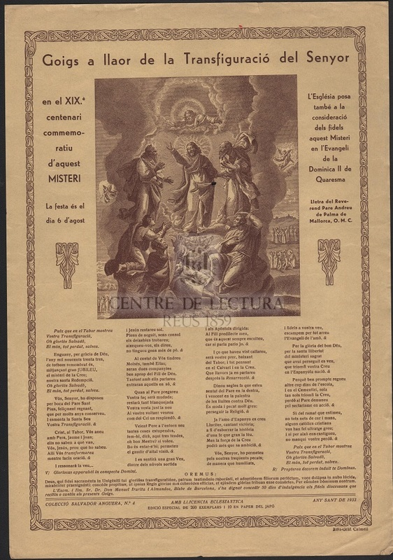 Goigs a llaor de la Transfiguració del Senyor en el XIXè. centenari commemoratiu d'aquest Misteri