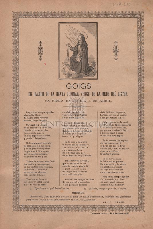 Goigs en llahor de la beata Guiomar, verge, de la orde del cister. Sa festa en lo dia 3 de Abril.