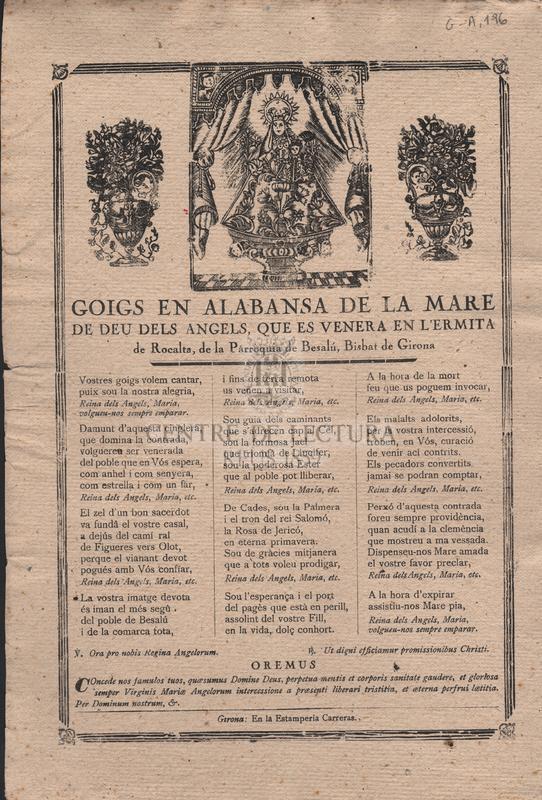 Goigs en alabansa de la Mare de Deu dels Angels que es venera en l'ermita de Rocalta, de la Parròquia de Besalú, Bisbat de Girona
