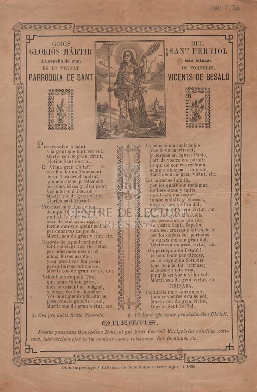 Goigs del gloriós mártir Sant Ferriol. La capella del cual está situada en lo veynat de Fornells, Parroquia de Sant Vicents de Besalú