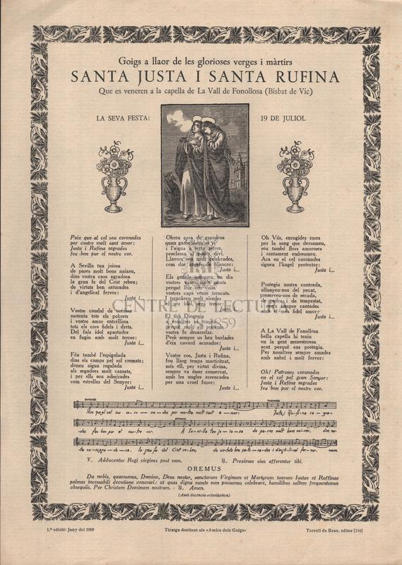 Goigs a llaor de les glorioses verges i màrtirs santa Justa i santa Rufina, Que es veneren a la capella de La Vall de Fonollosa (Bisbat de Vic), La seva festa: 19 de juliol