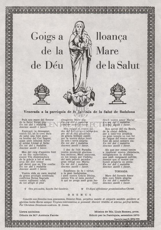 Goigs en lloança de la Mare de Déu de la Salut, venerada a la parròquia de la barriada de la Salut de Badalona.