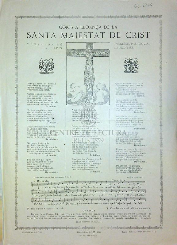 Goigs en lloança de la Santa Majestat de Crist que es venera en l'església parroquial de Caldes de Montbui