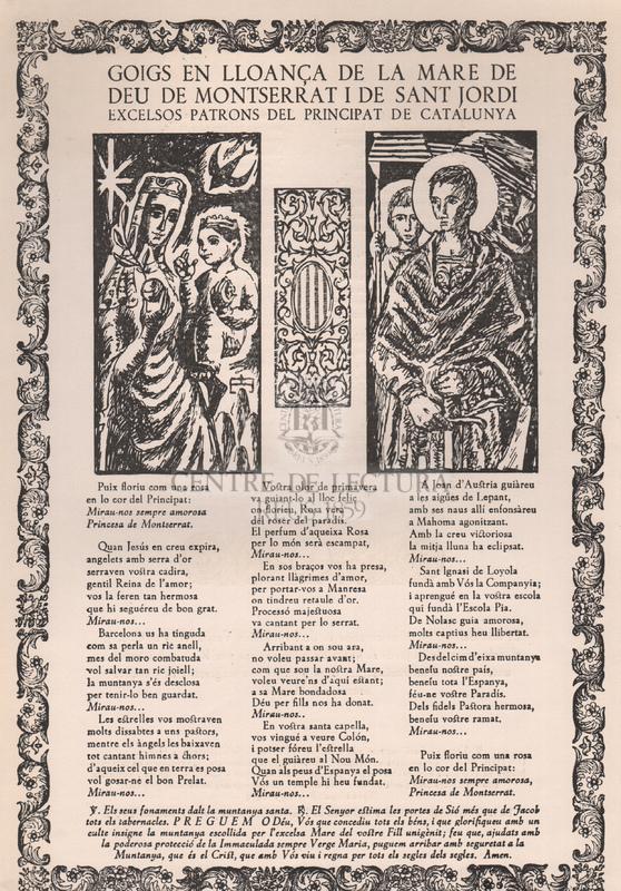 Goigs en lloança de la Mare de Déu de Montserrat i de Sant Jordi excelsos Patrons del Principat de Catalunya.