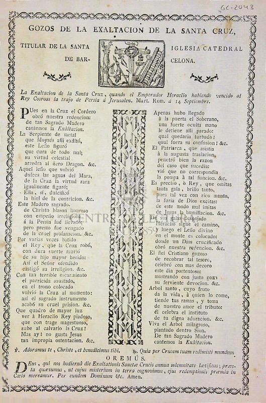 Gozos en honor de la exaltacion de la Santa Cruz, titular de la Santa Iglesia Catedral de Barcelona
