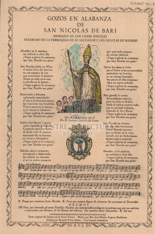 Gozos en alabanza de San Nicolas de Bari, abogado de los casos dificiles venerado en la parroquia de el Salvador y San Nicolas de Madrid