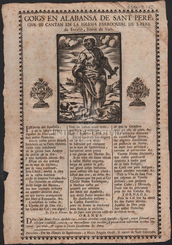 Goigs del glorios apostol Sant Pere