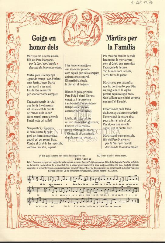 Goigs en honor dels Màrtirs per la Família