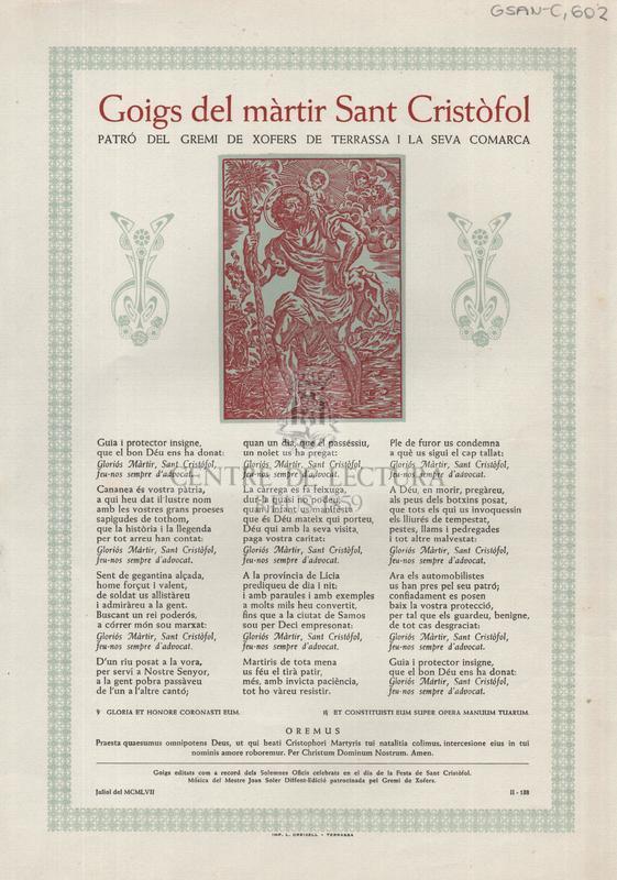 Goigs del màrtir Sant Cristòfol patró del Gremi de Xofers de Terrassa i la seva comarca