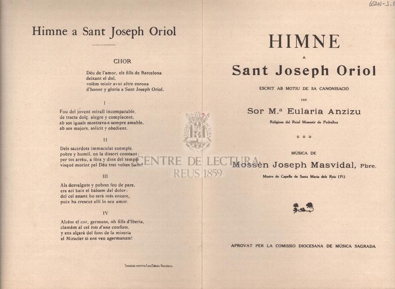 Himne a Sant Joseph Oriol, escrit amb motiu de sa canonisació