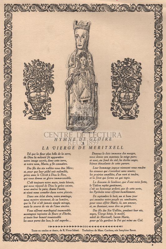 Hymne de gloire a la Vierge de Meritxell.