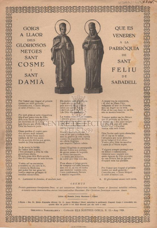 Goigs a llaors dels gloriosos metges Sant Cosme i Sant Damià que es veneren a la Parròquia de Sant Feliu de Sabadell