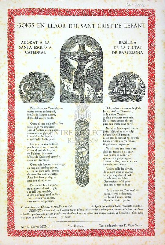 Goigs en llaor del Sant Crist de Lepant adorat a la santa església catedral basílica de la ciutat de Barcelona