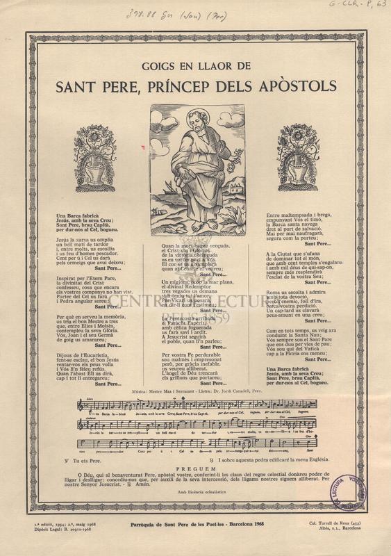 Goigs en llaor de Sant Pere, príncep dels apòstols.