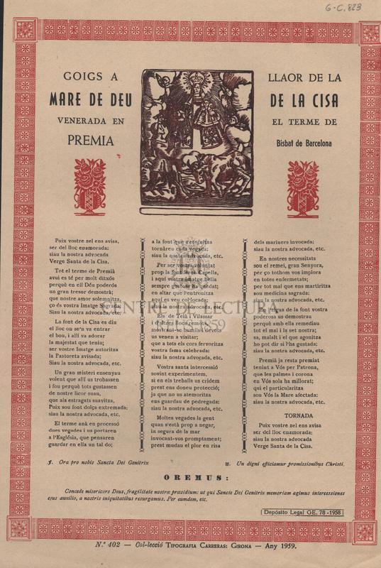 Goigs a llaor de la Mare de Déu de la Cisa, venerada en el terme de Premia, Bisbat de Barcelona