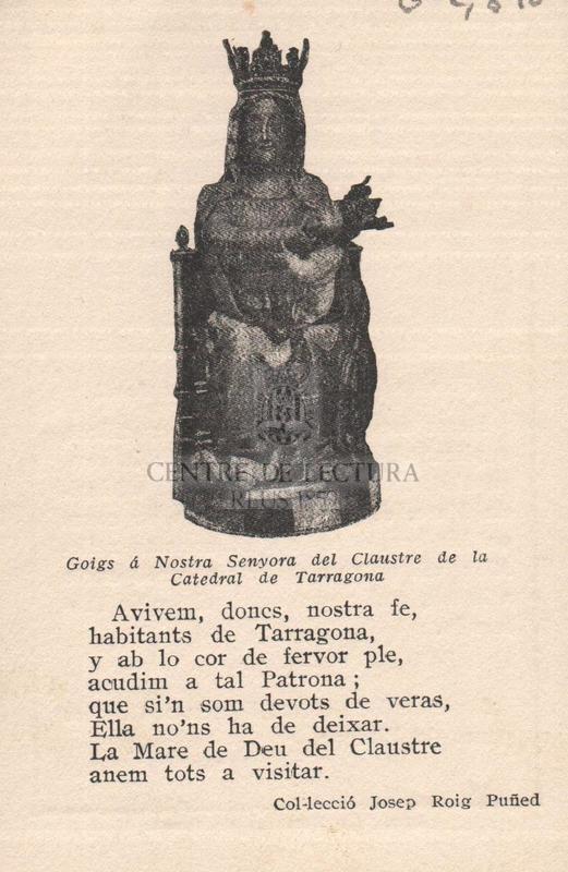 Goigs á Nostra Senyora del Claustre de la Catedral de Tarragona.