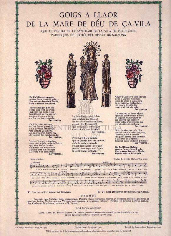 Goigs a llaor de la Mare de Déu de Ça-Vila que es venera en el Santuari de la Vila de Perdiguers Parròquia de Ceuró, del  Bisbat de Solsona