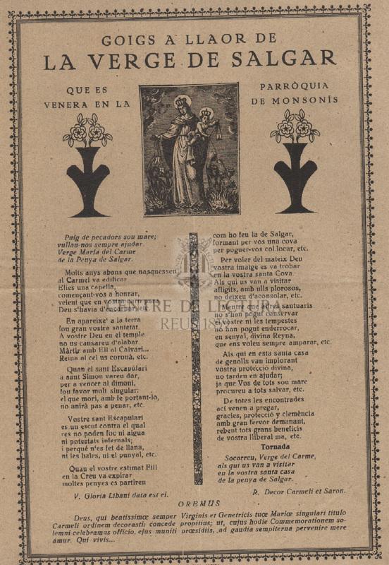 Goigs a llaor de la Verge de Salgar que es venera en la parròquia de Monsonís