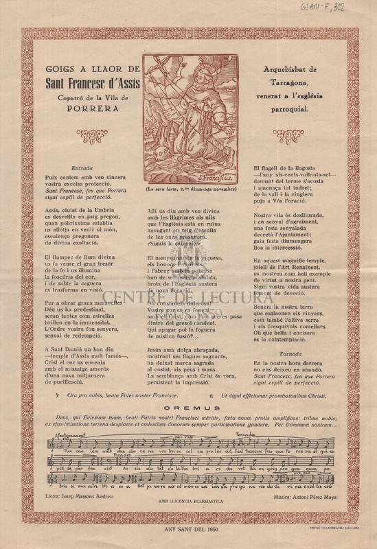 Goigs a llaor de Sant Francesc d'Assís, copatró de la Vila de Porrera, Arquebisbat de Tarragona, venerat a l'església parroquial