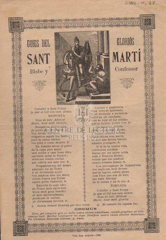 Goigs del gloriós Sant martí Bisbe y confessor