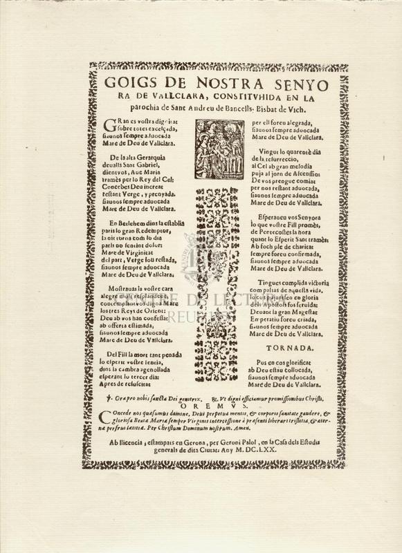 Goigs de Nostra Senyora de Vallclara, constituhida en la parochia de sant Andreu de Bancells, Bisbat de Vich