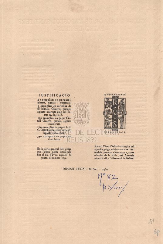 Goigs en llaor de l'apòstol Sant Pere, patró de Reus