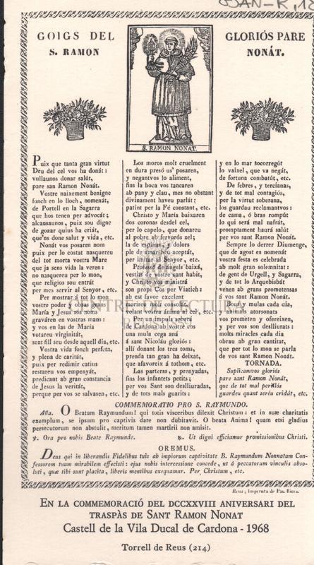 Goigs del gloriós Pare S. Ramon Nonát