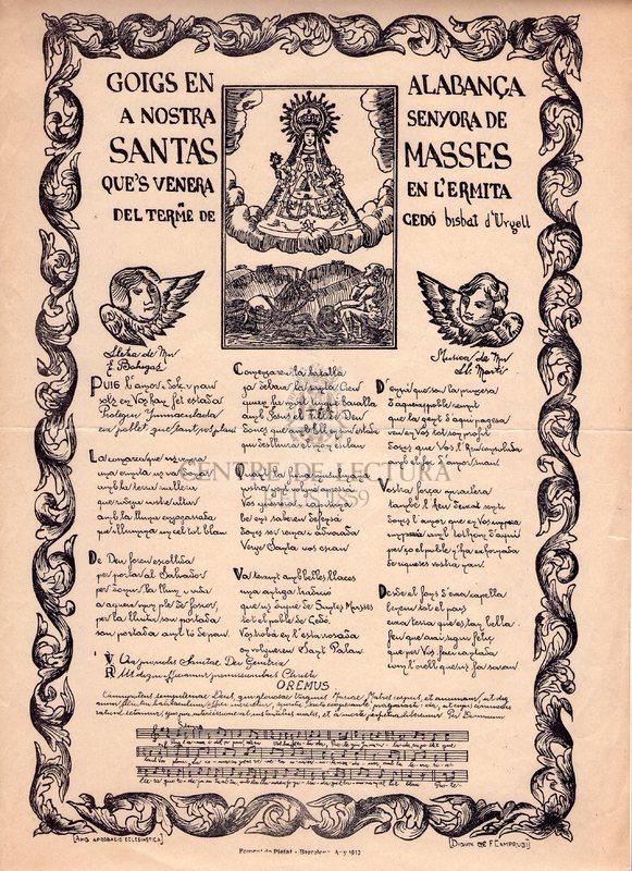 Goigs en alabança a Nostra Senyora de Santas Masses que's venera en l'ermita del terme de Cedó. Bisbat d'Urgell