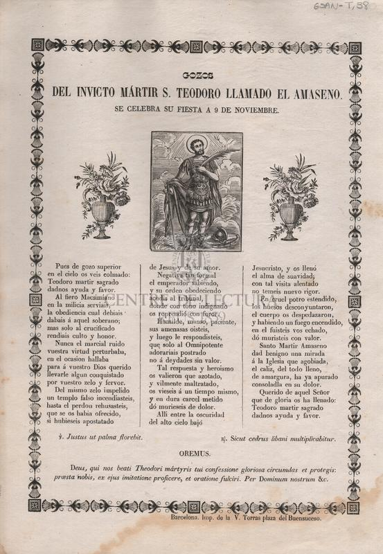 Gozos del invicto mártir S. Teodoro llamado del Amaseno. Se celebra su fiesta a 9 de noviembre