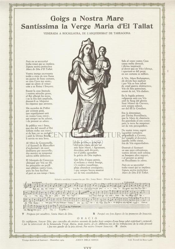 Goigs a Nostra Mare Santíssima la Verge Maria d' El Tallat venerada a Rocallaura, de l'Arquebisbat de Tarragona