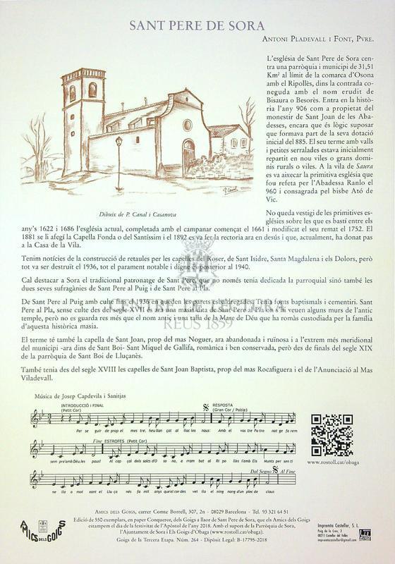 Goigs a llaor de Sant Pere Apòstol, patró de Sora (Bisbat de Vic)