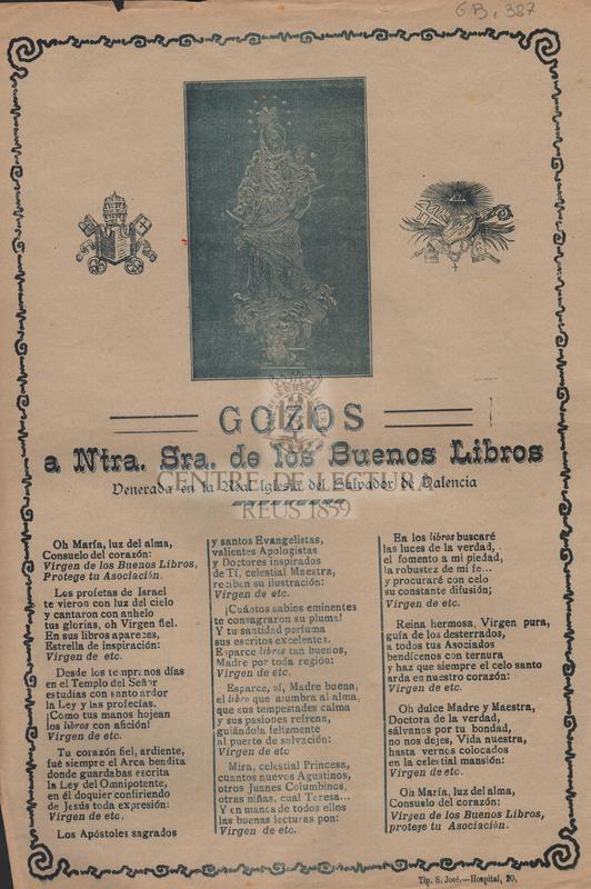 Gozos a Ntra. Sra de los Buenos Libros venerada en la Real Iglesia del Salvador de Valencia