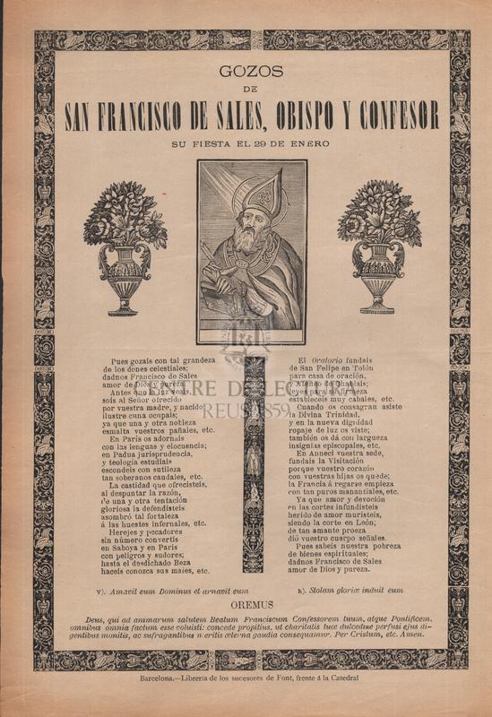 Gozos de san Francisco de Sales, obispo y confesor, su fiesta el 29 de enero