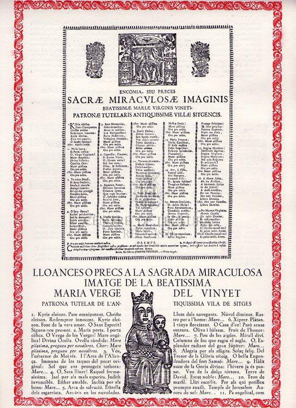 Lloances o precs a la Sagrada miraculosa imatge de la beatíssima Maria Verge del Vinyet patrona tuterla de l'antiquissima vila de Sitges