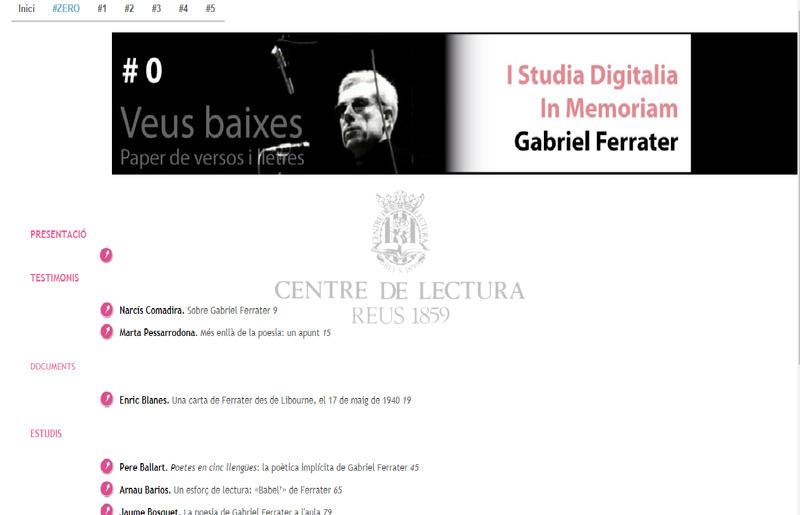 Presentació - Studia digitalia in memoriam Gabriel Ferrater