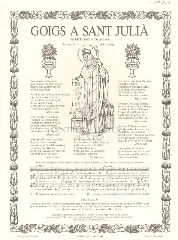 Goigs a Sant Julià, bisbe de Toledo, la seva festa: el 8 de març