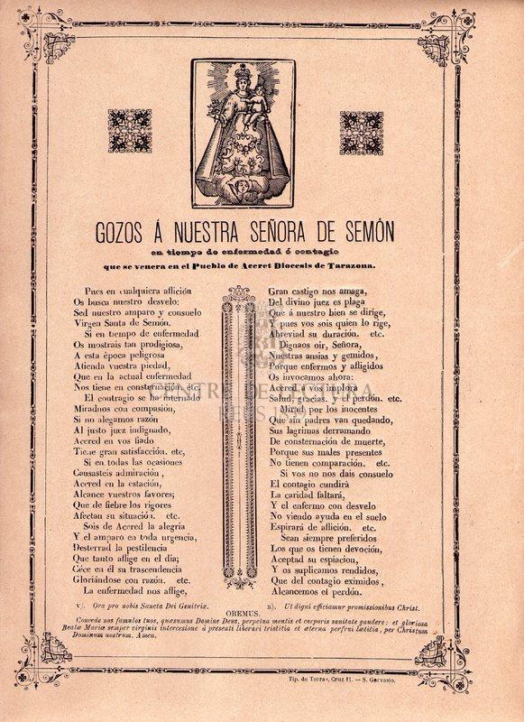Gozos á Nuestra Señora de Semón en tiempo de enfermedad ó contagio que se venera en el Pueblo de Aceret Diocesis de Tarazona